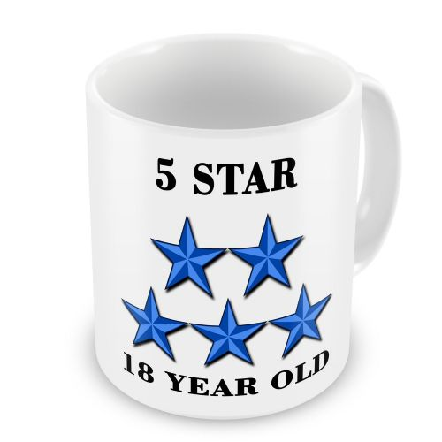 5 Star 18-100 Year Old Novelty Gift Mug - Blue